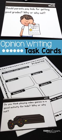 First grade, 2nd grade, and 3rd grade writers need fun, engaging prompts to encourage them to write their opinions. These opinion writing task cards cover a variety of topics that kids can write about during writer's workshop, centers, or as a whole class opinion writing activity. First Grade Science, First Grade Writing, First Grade Activities, Teaching First Grade, Writing Activities, Opinion Writing Prompts, Writing Skills, Literacy Skills, Good Grades