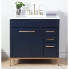 Shop for Tennant Brand Beatrice Modern Navy Blue Bathroom Vanity. Get free delivery On EVERYTHING* Overstock - Your Online Furniture Outlet Store! Bathroom Vanity Store, Navy Bathroom, Best Bathroom Vanities, Vanity Sink, Master Bathroom, Washroom, Bathroom Cupboards, Blue Modern Bathrooms, Modern Bathroom Sink