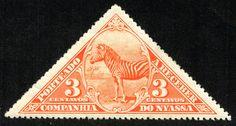 "Nyassa 1924 Postage Due Scott J4 3c red orange ""Zebra"""