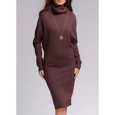 $14.10 Stylish Cowl Neck Long Sleeve Solid Color Draped Women's Dress