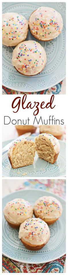 Glasierte Donut-Muffins Glazed Doughnut Muffins - combining two favorites into one treat: doughnut, muffins, and glazed with sugar. Sinfully good and you'll want more. Just Desserts, Delicious Desserts, Dessert Recipes, Yummy Food, Donut Muffins, Baking And Pastry, Baking Soda, Snacks Für Party, Macaron