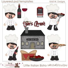 Little Italian Bistro Cooking Chef Baking Food Kitchen PSD Templates by Kristi W. Designs April