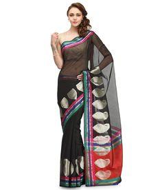 Loved it: Bunkar Black Cotton Banarasi Saree With Blouse Piece, http://www.snapdeal.com/product/bunkar-black-cotton-banarasi-saree/636962274710