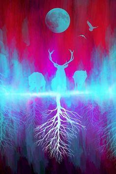 New Society6 art! deer art, moon art, stag, wolf art, wolves, bird art, wildlife, nature art, space art, woods, forest, red and blue art, tree art, mountains art, Society6, society 6, apartment art, wall art, modern art, abstract art, spirit animal