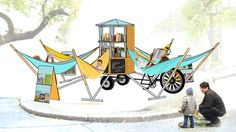 The Bibliambule - Ulule: A brilliant design for a mobile library! Mobile Art, Mobile Shop, Mobile Architecture, Landscape Architecture, Mobile Library, Library Inspiration, Little Free Libraries, Bookshelf Styling, Graduation Project