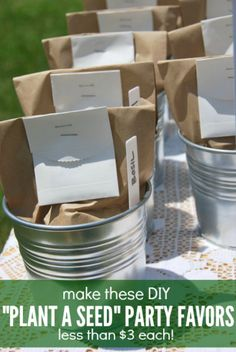 Looking for a party favor idea? Make these DIY plant a seed party favors!! They are super easy to put together and cost less than $3 each! Make them for a baby shower, wedding, or other event. A great budget friendly idea! Click over for the full tutorial.
