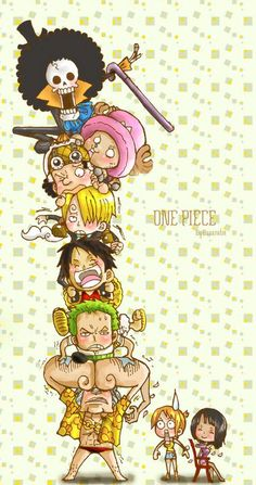 One Piece chibi. Luffy, zoro, usopp, nami, sanji, chopper, robin, franky, brook. Anime. Fanart. Cute!