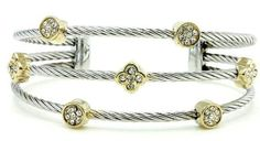 Cable Crystal Triple Band Silver Gold