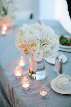 White Rose Wedding Centerpiece/ use pale pink roses  Like the votive candles