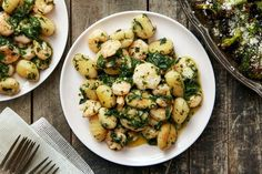 Pesto Shrimp & Gnocchi with Roasted Broccoli. Visit https://www.blueapron.com/ to receive the ingredients.