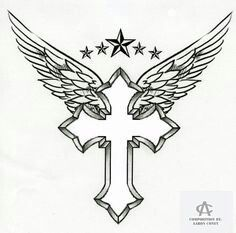 Cross with wings and stars