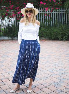 polka dots midi skirt 2017 with off shoulder top 2017