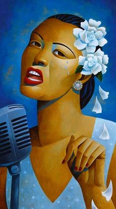 Singer Billie Holiday by Jody Hewgill. Billie Holiday, Jazz Club, Music Artwork, Art Music, Musik Illustration, Lady Sings The Blues, Jazz Art, African American Art, Jazz Musicians