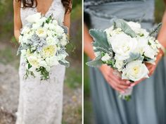Nice to see how the colours in this bouquet work with both bridesmaid and bridal gowns