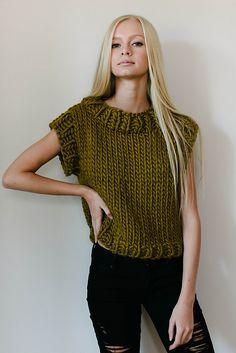 Easy Knitting Project! Jen Geigley Jessa Top Knitting Pattern using quick knit Blue Sky Fibers Bulky Yarn