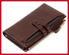 SUIMIUS Women's Genuine Leather Wallet Large Capacity Luxury Zip Pocket Clutch Coffee - Wallets (*Amazon Partner-Link)