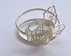Delicate, Unique, OOAK, Statement Bracelet With Silver Rose And Leaves by IacobJewelry on Etsy Silver Roses, Statement Jewelry, Wire Wrapping, Silver Plate, Wraps, Delicate, Hoop Earrings, Bracelets, Unique
