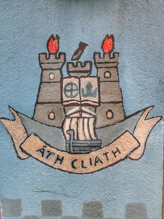 Dublin Gaa crest painted on a wall, Dublin. Beer Tasting, Porsche Logo, Dublin, Irish, Kids Rugs, Logos, Painting, Wall, Decor
