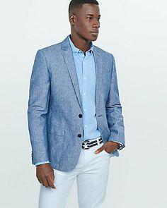 ec75c3b221e74 slim photographer linen-cotton blue blazer Blazer Vest