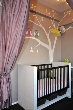 This was designed for twin girls but can easily be adapted for a boy or boy/girl - EMC2 Interiors NYC Modern Owl Nursery  ©Murals and more by Patrice -