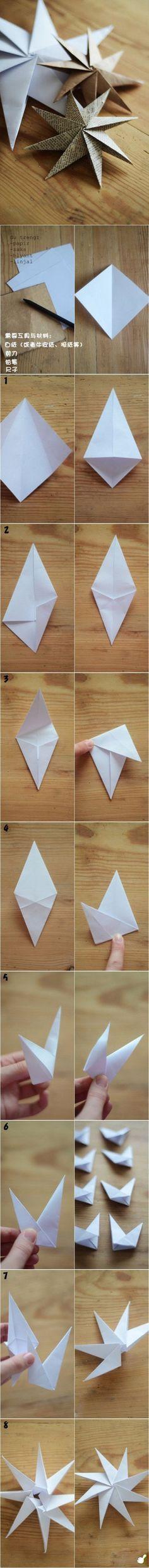 Decoração, estrela de Natal DIY Paper Stars diy craft crafts craft ideas / easy…