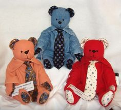 """Their daddy passed away and these bears were created for the three children so that they could hold """"Daddy"""" tight!"""