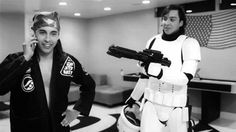 Vic looking all ghetto and Tony fulfilling his Star Wars dreams. :)
