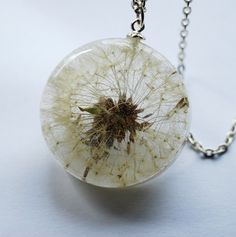 One True Dandelion Necklace 03 Resin Jewelry Make A Wish Real Complete Dandelion Pendant Statement Specimen Seeds Extra Long Chain. $46.00, via Etsy.