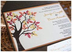 Custom Printed Fall/Autumn Wedding Pocket Fold by CreativeCucina