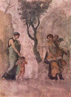 Ancient Roman wall fresco from Pompeii, Italy