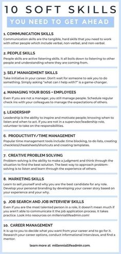 Career Advice: To get ahead in your career, you will need more than technical skills. Career advancement is all about developing soft skills. These are the 10 soft skills you need and how to develop them! Job Interview Preparation, Job Interview Tips, Job Interview Questions, Job Interviews, How To Interview, Interview Questions And Answers, Job Career, Career Planning, Career Advice