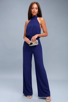 You'll be absolutely irresistible in the Power of Love Navy Blue Strapless Jumpsuit! Strapless jumpsuit with a fluttering tier, hidden V-bar, and no-slip strips. Dressy Rompers And Jumpsuits, Blue Jumpsuits, Cute Rompers, Jumpsuits For Women, Playsuits, Strapless Jumpsuit, Bleu Royal, Royal Blue, Navy Blue