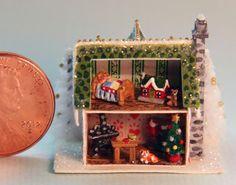 OOAK Miniature Dollhouse Vintage Night Before Christmas Putz Glitter Mica House | eBay