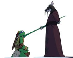 Master Splinter appointing Leonardo leader of the brothers :3