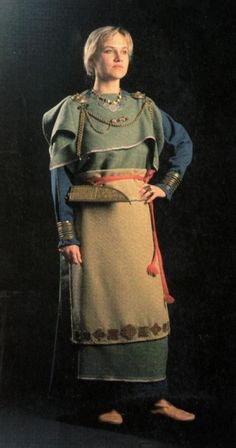 Reconstructed from archeological finds: Iron-age costume from Eura, western Finland (worn by the President of Finland on Independence Day 2002).