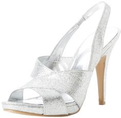 $89, Silver Leather Heeled Sandals: Nine West Ripper Sandal. Sold by Amazon.com. Click for more info: https://lookastic.com/women/shop_items/33068/redirect