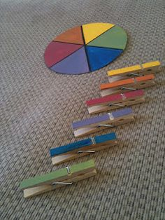 Color Wheel Activity (I'd write names of colors on the wheel & pins too) For harder activity turn wheel over and just have color names without coloring in the sections for matching just by words)