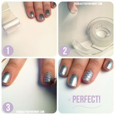 """Manicure tricks w/ tape.  One of mine to add is to use a scrapbook punch on painters tape (must be a tiny design) & place on nail. After 2nd coat of color or matte coat has dried. After placing """"sticker"""" top with opposite finish or color polish. When you make your punch try to put a bit of tape around a corner facing up to be used as a tag to pull it off the nail."""