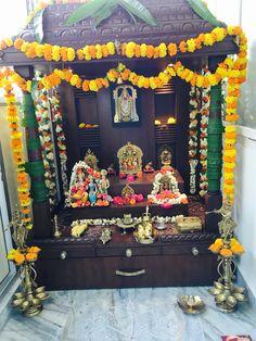 Naming Ceremony Decoration, Mandir Design, Ganapati Decoration, Pooja Mandir, Pooja Room Door Design, Home Library Design, Diwali Diy, Kerala House Design, Apartment Balcony Decorating