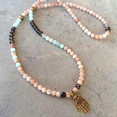 Necklaces - Joy And Positivity, Sunstone And Smoky Quartz 108 Bead Mala Necklace Or Bracelet