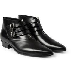 Saint LaurentBuckled Leather Ankle Boots