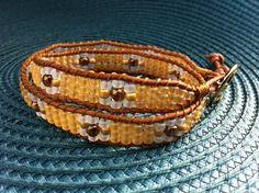 Double Wrap Beaded Bracelet Leather Wrap Bracelet Mix Beaded