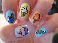 """11 Dessert-Inspired Nail Art Designs - """"All your favorite dessert treats"""" nails. Nail Art Designs, Nail Polish Designs, Love Nails, Fun Nails, Pretty Nails, Food Nail Art, Tumblr Nail Art, Nails For Kids, Manicure E Pedicure"""