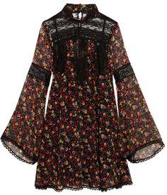 Anna Sui - Lace-paneled Printed Silk-georgette Mini Dress - Black https://api.shopstyle.com/action/apiVisitRetailer?id=610300103&pid=uid2500-37484350-28
