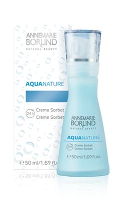 AQUANATURE 24h Creme Sorbet This light creamy-textured gel is specially formulated for dry, mature skin. The intensive moisturising complex of aloe vera, an innovative botanical hyaluronic acid, bulrush cells and marine plant extracts hydrates and protects the skin and improves its natural ability to regenerate itself. Reduces the appearance of dry lines.