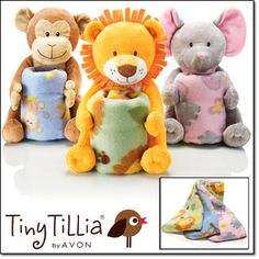 "Coming in Campaign 13 Tiny Tilla Baby Shower Gift Set*   All wrapped up in cuteness for the perfect baby shower gift. Each plush animal comes with a blanket. Plush, 9 1/2"" H. Blanket, 30"" sq. Polyester. Imported. Monkey Lion Elephant"