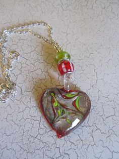 Red Heart Necklace Valentine Necklace Heart by BrownBeaverBeadery