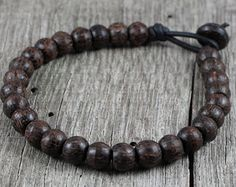 Mens Mala Bracelet, Leather, Natural Palm Wood Beaded, Prayer Style, Yoga, Surfer, Brown