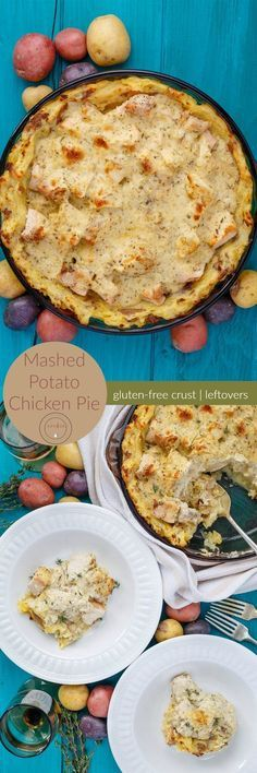Mashed Potato Chicken Pie + Giveaway | http://thecookiewriter.com | @thecookiewriter | #creamerpotatoes #sponsored | A gluten-free pie crust made out of mashed potatoes, this recipe is both hearty and delicious!