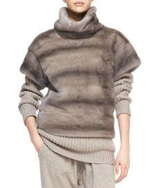 B2LGQ Michael Kors Turtleneck Mink Fur Pullover